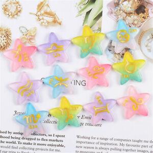 Lot of (x12) Flatback Resin Zodiac Signs Stars Cabochons Embellishments 26mm