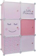 Kleiderschrank Kinder modular 6 Würfel Kinderregal Kleiderstange Steckregal Rosa