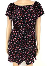 C&E Dress Womens Xs Fit & Flare Black Red Cherry Retro Rockabilly Novelty Print