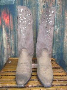 Ladies Ariat Brown Suede Leather Pointed Toe Western Cowboy Boots sz: 6