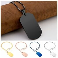 Mens Polish Stainless Steel Plain Army Military Dog Tag Pendant Necklace Chain