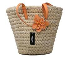 MoDA Straw Handbags Summer Woven Straw Beach Tote Bag with Orange Floral Accent