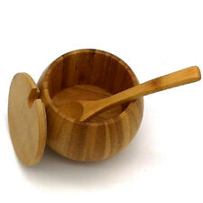 Bamboo Salt & Pepper Box Wood Round Kitchen Storage Case With Lid And Spoon