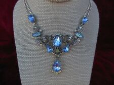 Avon Blue Green Pink Jeweled Necklace Princess Retro Prom Silver Tone