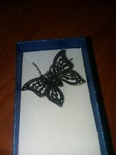 Swiss Marcasite Black Oxidized Stainless Steel Butterfly Pendant With Chain
