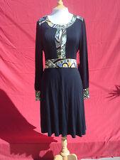 NWT BCBG Max Azria Black Multi-color Long Sleeve Dress XL $180
