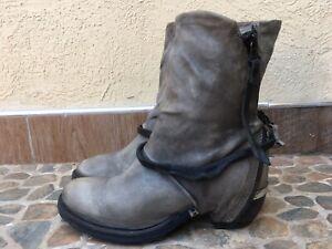 A.S.98 Zipper Distressed Boho Biker Boots Size EU 39 | US 8.5-9 | UK 6
