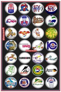 1970's American Basketball Association ABA Team Logo's Color 8 X 12 Photo Pic