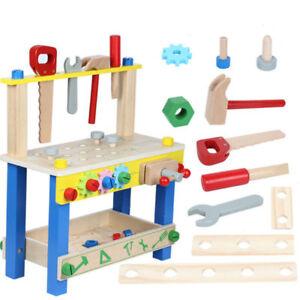 Childrens Kids Wooden 49 pcs DIY Construction Work Bench Tool Set Play Toy Xmas