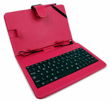 7-inch QWERTY UK Keyboard Folio Case in Pink for Archos 70 / 80 Oxygen Tablet
