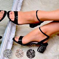 Womens Ladies Low Block Heel Shoes Diamante Metallic Sandals Evening Party Size