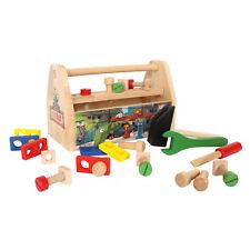 Kinder Werkzeugkasten 28 tlg. Ritter Rost Handwerkerkasten aus Holz mit Werkbank
