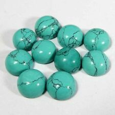 A PAIR OF 14mm ROUND CABOCHON-CUT NATURAL CHINESE TURQUOISE GEMSTONES
