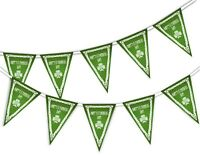 Happy St Patrick Day Celtic Frame - Bunting Banner 15 flags Green Ireland