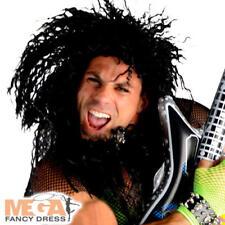 Rocker Wig Mens Fancy Dress 1980s Heavy Metal Punk Rock Adults Costume Accessory