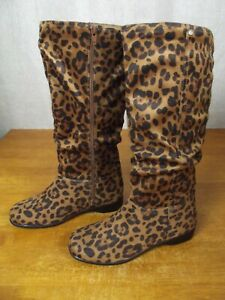 NEW Womens 8 M Faux Leopard Suede Full Zip Up Calf Boots Low Wedge Heel Shoes