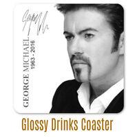George Michael signature personalised  gloss drinks coaster gift