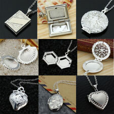 925 Silver Filled Shell Heart Love Photo Box Locket Pendant Mother's Day Gifts