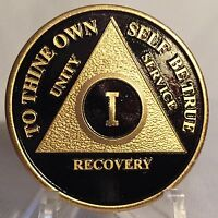 1 Year Black Gold Plated AA Chip Alcoholics Anonymous Medallion Sobriety Coin