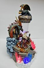 Dragon Sorcerer Wizard Sculpture w Sound Lights Bubbling Water 12x7 Rare Vintage