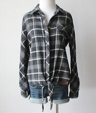 Women's Plaid Checkered Flannel Tie Front Button Down Collar Shirt Top Blouse M