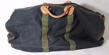 Vintage L.L. Bean Bag Canvas & Leather Duffle Brown Navy Blue and Green