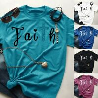 Women Summer Cross Faith T-Shirt Graphic Tees Loose Fit Christian Shirts Tops