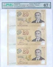 2007 SINGAPORE 20 DOLLARS POLYMER UNCUT SHEET OF 3 PMG 67 EPQ S.GEM UNC