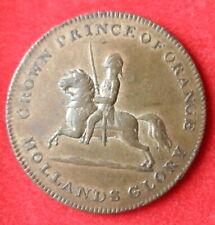 1815  BRASS GREAT BRITAIN WATERLOO TOKEN CROWN PRINCE OF ORANGE RARE