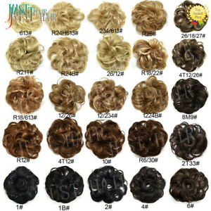 Real Natural Curly Messy Bun HairPiece Scrunchie Hair Extensions as Human Blonde