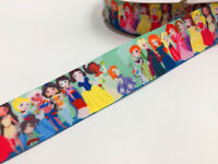 DIY 5 Yard 1'' 25MM Cartoon girl head Printed Grosgrain Hair Bow Sewing Ribbon
