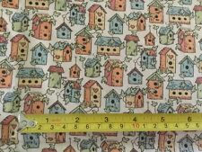 """100% COTTON FABRIC MINI BIRDHOUSES  44"""" WIDE BTY"""
