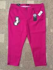 Curve Appeal Womens Ankle Pants Fuchsia Plus Size 24W Tummy Tuck Thigh Slimming