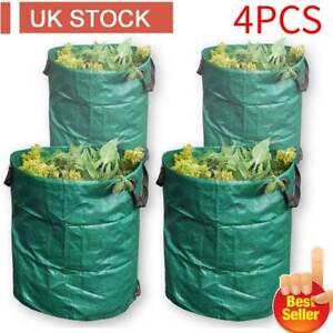 Heavy Duty Garden Waste Bags Reusable Rubbish Grass Refuge Sacks Green Set Of 4