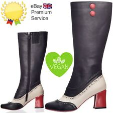 Banned Apparel Say My Name 60s Knee High Vegan Leather Unique Brogue Black Boots