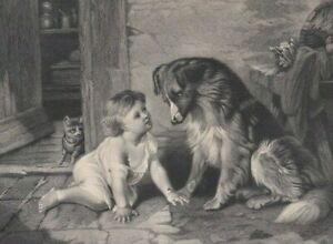 "NICE c1891 Steel Plate Engraving / George Holmes ""Can't You Talk "" Child Dog Cat"