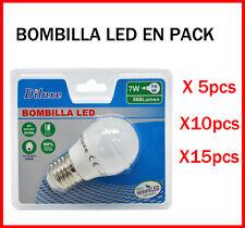 BOMBILLA LED 7W CASQUILLO GRANDE E27 LUZ BLANCA 6400K PACK DE AHOORO DESDE 5 UDS
