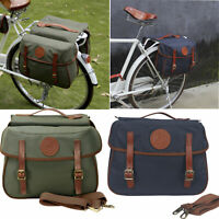 Tourbon Bike Double Panniers Rear Seat Trunk Bag Canvas Cycling 2 Colors in USA