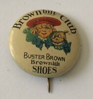 1904 Buster Brown Club Brownbilt Shoes Pin Childrens Shoes advertising button