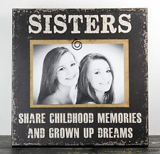 CLIP FRAME BLACK HANDMADE WOOD SISTERS PICTURE FRAME PHOTO SIGN HOME DECOR 1008