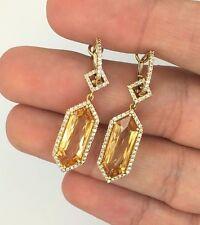 2 in 1 NEW 18K YELLOW GOLD DIAMOND & ORANGE CITRINE HANGING DANGLE DROP EARRINGS