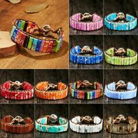 7 Chakra Bracelet Women Colorful Handmade Natural Stone Tube Bead Leather Bangle