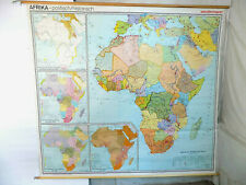 More details for vintage,retro,very,large,1970's,6' x 7',fabric,map,historical,wall chart,africa