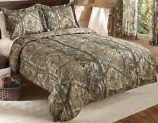 Camo Comforter Bedding Set Bed in a Bag Queen Realtree Wood Tan Shams Bedroom