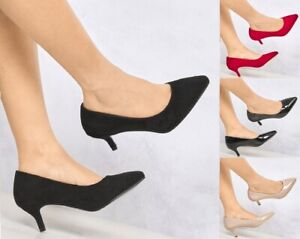 New Ladies Suede Patent Low Kitten Heel Pointed Toe Slip On Court Shoes 3-8