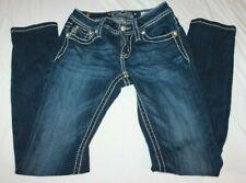 Miss Me Girls Skinny Denim Dark Blue Jeans JK90005 Sz. 12 Bling Pockets