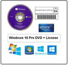 Microsoft Windows 10 Pro Professional 64Bit DVD + 1 License Activaion Key