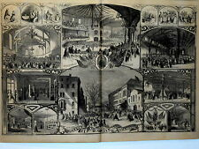 Harper's Weekly Double Page Engraving Civil War Brooklyn Sanitary Commission1864