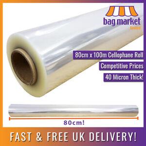 800mm x 100m Strong Clear Cellophane Roll | 40mu/Florist/Flower Wrap/Film/80cm