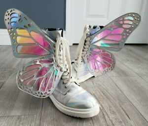 CLUB EXX silver metamorphi butterfly wings combat boots sz 7M